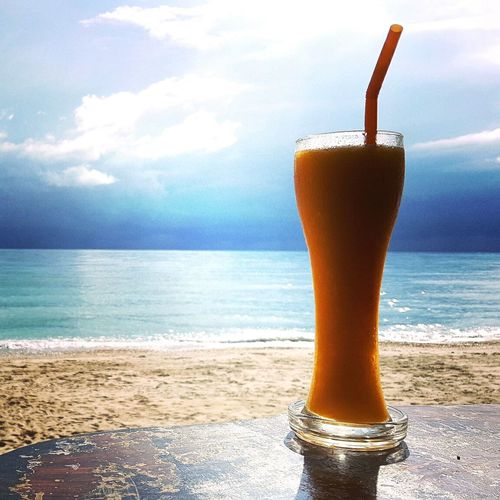 Beach Drink Summer Horizon Over Water Drinking Glass Tropical Climate Sand Vacations No People Outdoors Water Mangojuice Mango Shake Mangoshake Thailand Travellover Travellove Traveller Travellovers Reiselust Miles Away Khanom Paint The Town Yellow An Eye For Travel