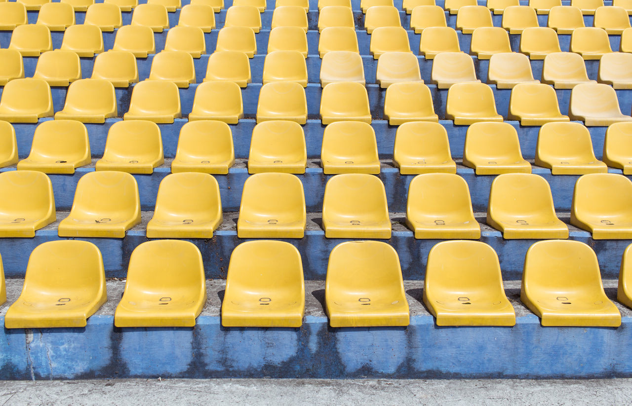 Empty seats arranged in row