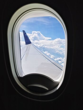 Aeroplane view Window Vehicle Interior Transportation Mode Of Transport Sky Airplane Cloud - Sky Air Vehicle Travel Day Journey No People Vehicle Part Indoors  Looking Through Window Airplane Wing Nature
