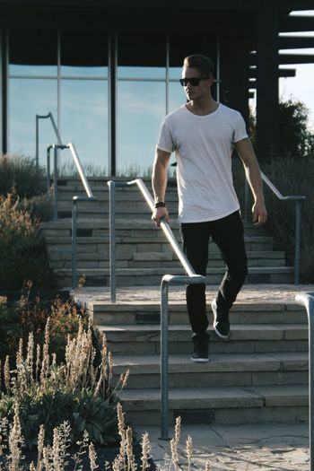 Glare Before Sunset Sun Tshirt Denimjeans Male Dark Stairs Staircase Plants Plants And Flowers Glass Building Exterior Building Water Full Length Men Motion Exterior Steps Hand Rail Railing This Is Strength Autumn Mood