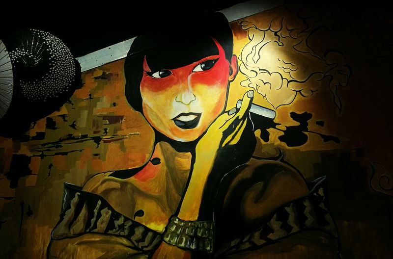 Perfectly lit Woman Adult One Person One Woman Only Art Wall Art Wall Painting Wall Resto Art Japanese Culture Japanese  Japanese Style Japanese Restaurant Badass Girl Badass Art EyeEmNewHere Welcomeweekly
