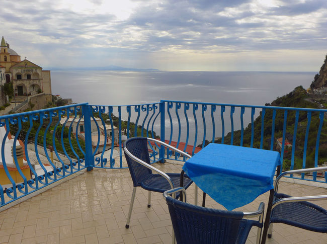 Amalfi  Amalfi Coast Beauty In Nature Blue Railing Blue Table Chairs And Tables Day Horizon Over Water Italy Mediterranean Sea No People Outdoors Railing Recovery Recovery Time Recreation  Scenics Sea Sky Tranquility Water