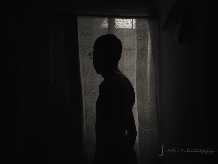 Rear view of silhouette woman looking through window at home
