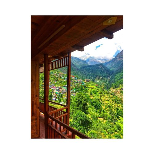 Plant Architecture Transfer Print Tree Mountain Day Nature Auto Post Production Filter Sky Built Structure No People Green Color Grass Landscape Environment Growth Wood - Material Outdoors Beauty In Nature