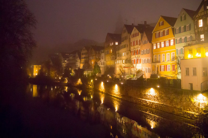 Built Structure Cityscape Fog Hölderlinturm Illuminated Neckar Neckarfront Night Reflection Tuebingen Tübingen Tübingen At Night