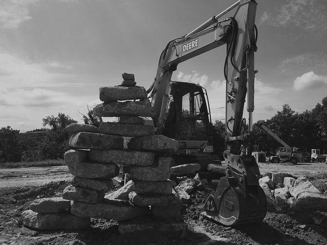 John Deere Excavator Operating Engineer Newagephotography Blackandwhite Outdoors Cloud - Sky First Eyeem Photo