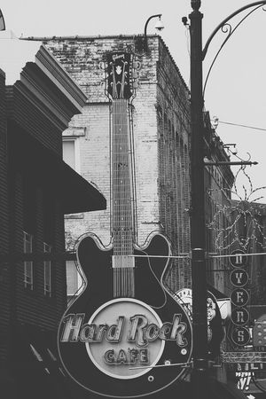 Memphis Hard Rock Cafe Jazz Street Photography Travel Photography Sign Black & White Monochrome