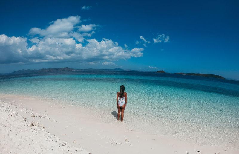 Woman in sea at beach