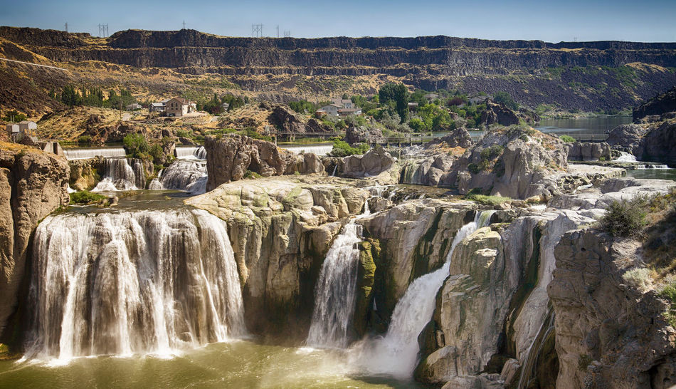 Shoshone Falls is one of the largest natural waterfalls in the United States and a natural attraction in Twin Falls .(Idaho) Panoramic View Shoshone Falls, Idaho Snake River USA Beauty In Nature Flowing Water Idaho Long Exposure Motion Nature No People Non-urban Scene Outdoors Panoramic Landscape Power In Nature Rock Rock - Object Rock Formation Scenics - Nature Shoshone Falls Travel Destinations Twin Falls Waterfall