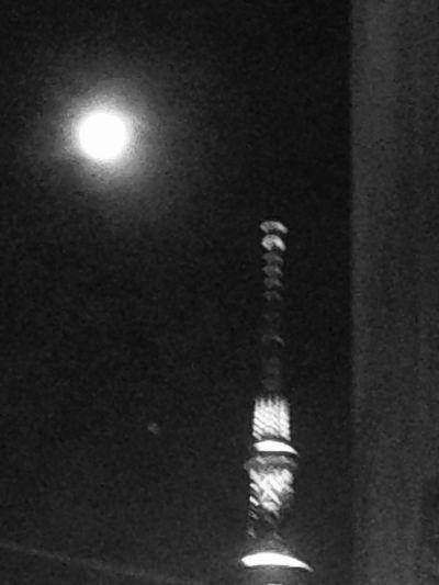 月とスカイツリー Tokyo Sky Tree EyeEm Moon Shots Moon Moon Light EyeEm Nature Lover Skytree Night Photography Light And Shadow 月とスカイツリー