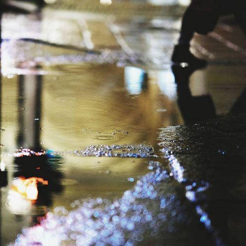 Steps in the puddle Drop Wet RainDrop Urban Scene Close-up Water Night City Reflection Legs Steps Puddle Rain Slippery Mirkomacaritorino