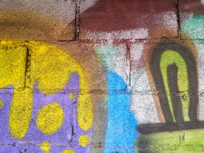 Architecture Art Brick Wall Brick Wall Built Structure Cement Wall City Close-up Colorful Communication Conversation Craft Day Drawings Graffiti Multi Colored No People Outdoors Painting Spray Paint Street Symbol Text Wall - Building Feature Yellow