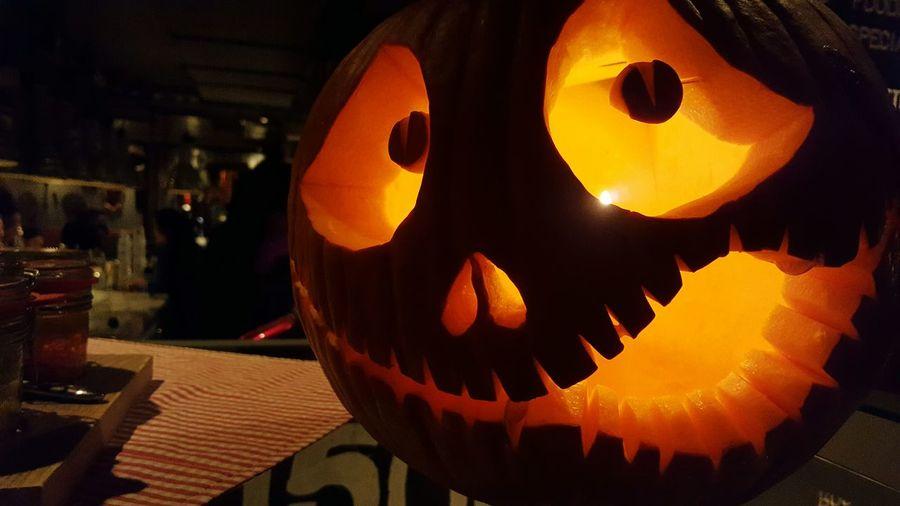 Anthropomorphic Face Creativity Halloween Night Pumpkin Jack O Lantern Celebration No People Close-up Outdoors