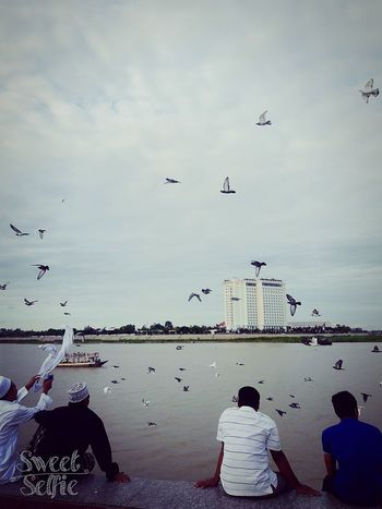 My first time in Cambodia_31/07/2016 First Eyeem Photo River People Doves, Birds Flying Bird Cameraphone Sweetselfie