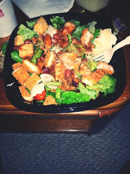 spicy chicken salad with chili in it. yummm