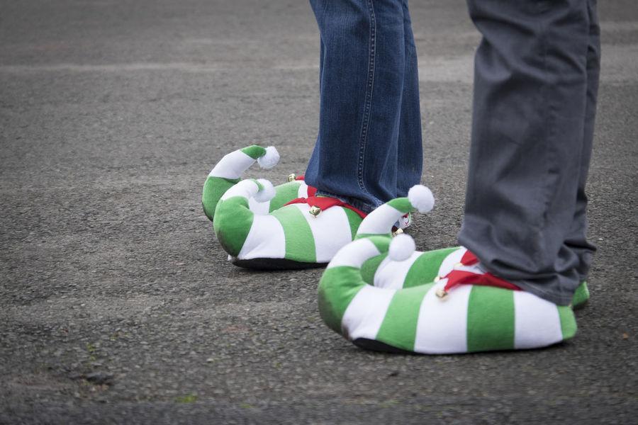 Christmas elf shoes Casual Clothing Christmas Clothing Elf Elf Shoes Fancy Dress Shoes Stripes Pattern