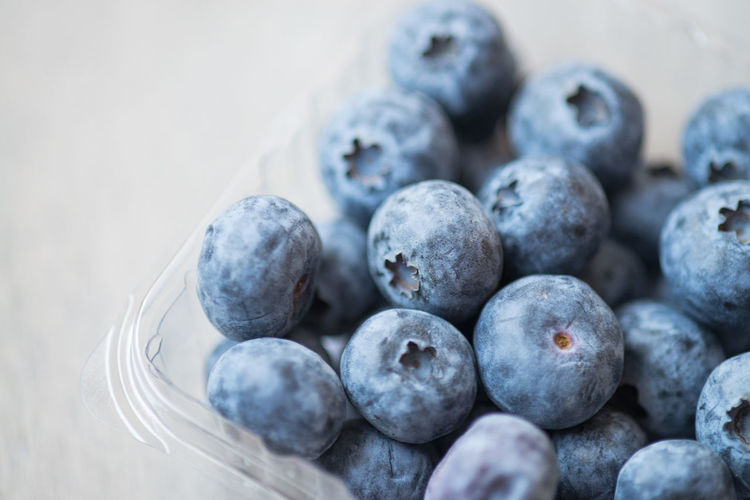 Close-up of blueberries in container