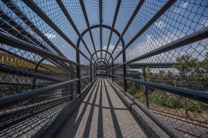 Walking bridge in Mexico City Daylight Depth Of Field Lines And Shapes Mexico Mexico City Railing Symmetry Walking Bridge