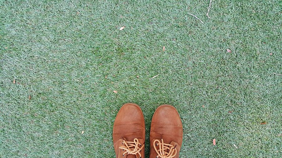 Close-up of shoes on field
