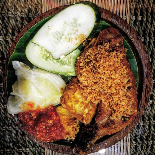 Ayam penyet Food Ayampenyet Plate Directly Above SLICE Vegetable Table High Angle View Still Life Close-up Food And Drink First Eyeem Photo