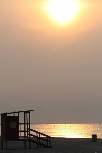 Architecture Beach Beauty In Nature Day Horizon Over Water Lifeguard Hut Nature No People Outdoors Railing Scenics Sea Sky Sun Sunset Tranquil Scene Tranquility Water