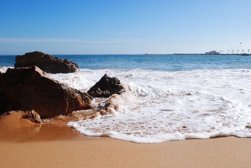 Sea Horizon Over Water Nature Beauty In Nature Scenics Water Beach Cascais Lisbon Lisboa Portugal February Wave Sun Tranquility Shore Clear Sky Tranquil Scene Sand No People Outdoors Sky Day Power In Nature