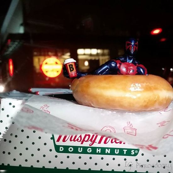 Mmm the light was on. Warm deliciousness! Fwebruary KrispyKreme Spiderman Day 8