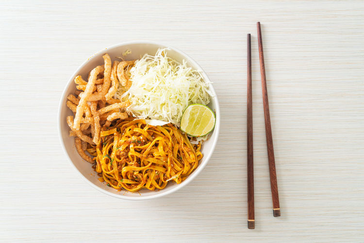 High angle view of various food in bowl on table
