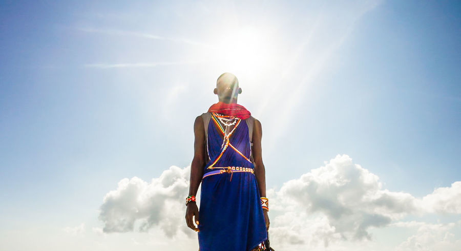 Cloud - Sky Kenya Lens Flare Low Angle View Massai Men One Man Only One Person Sky Standing Sun Sunlight Traditional Clothing Traditional Culture Tribe Young Adult Art Is Everywhere