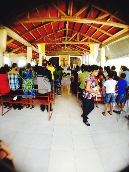 A mass before the feast of st. Vincent starts. 😇 Church Faith Feast San Vicente Photographing Iloilo City, Philippines IPhoneography Fisheye Lens Traveling Showcase April Telling Stories Differently People Culture