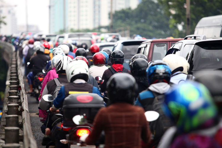 Traffic Jam at Rush Hour Adult Car Crowd Crowded Crowded Street Day Helmed In Row INDONESIA Jakarta Large Group Of People Men Mode Of Transportation Motorcycle Outdoors People Rush Hour Social Problems Stuck Stuck In Traffic Traffic Traffic Jam Transportation Travel