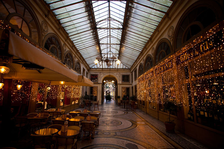 Christmas Covered Passage Galerie Illuminated Indoors  Paris Skylight