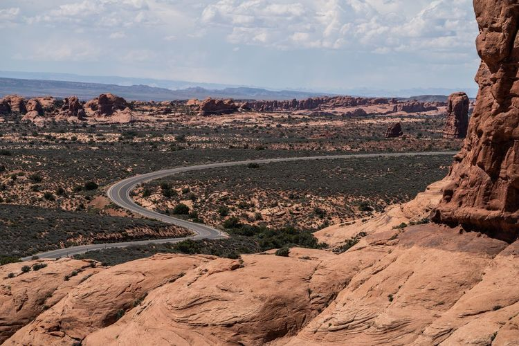 Curves Arches National Park, Utah USA Moab  Asphalt Road Curves Sky Tranquil Scene Nature Cloud - Sky Land Scenics - Nature Tranquility Beauty In Nature Landscape Rock Rock - Object Rock Formation Outdoors