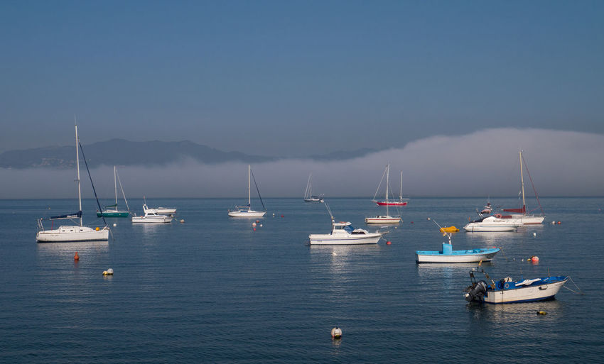 Boats Day Fog Galicia No People Sailing Ship Sea Water