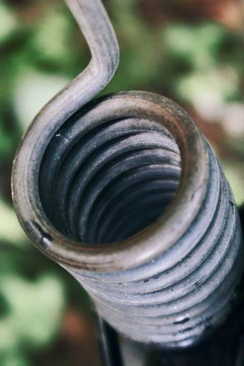 Close-up of spiral machine part
