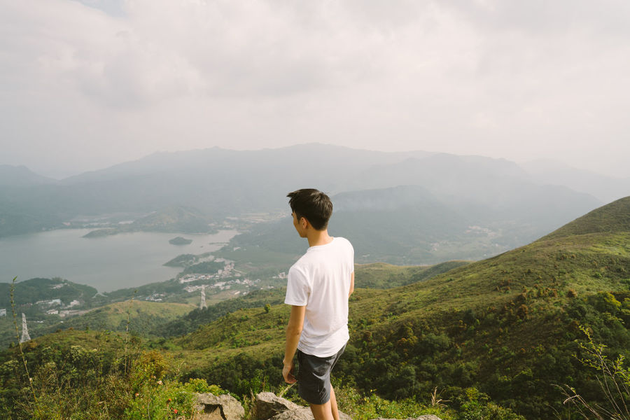 On the peak Green Hiking Man Mountain People S Sportsman Watching