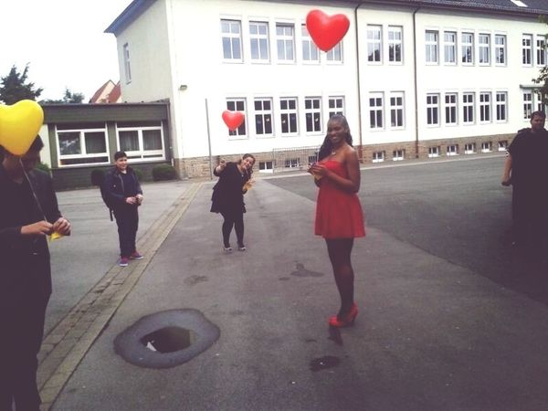 Red Dress Balloons Heart Todays Hot Look