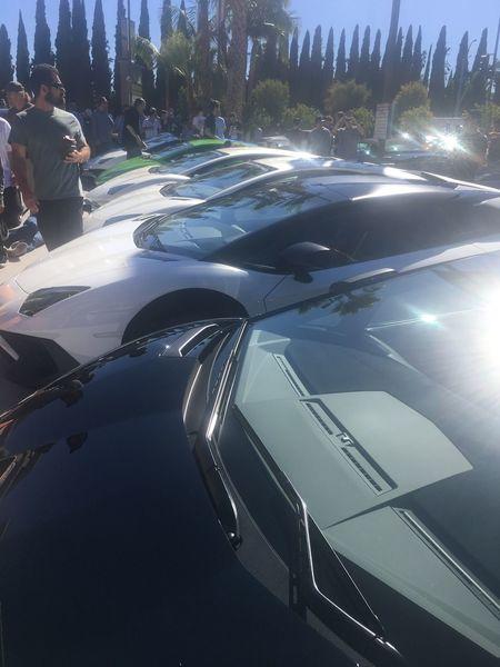 Those are all Lambos Car Lamborghini Aventador SV Roadster Lamborghini Aventador SV Orange Green White Black Huracan  Racecar
