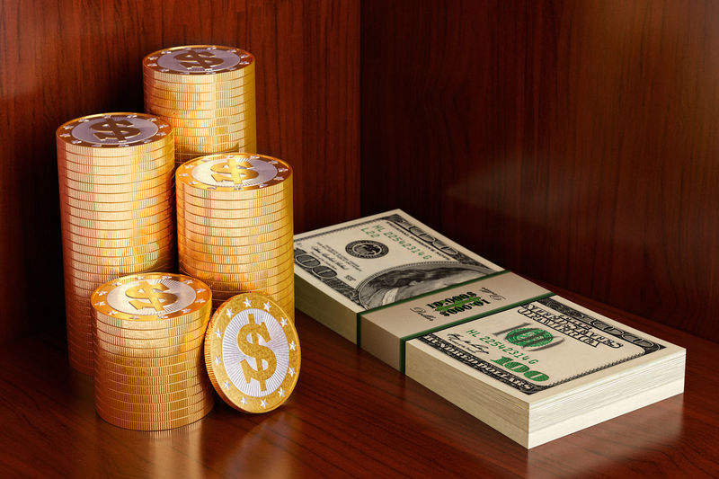3d Rendering Dollar Sign Golden Blender 3d Coins On The Table Dollar Dollar Notes Dollars Gold Coins No People Stacks  Wood - Material