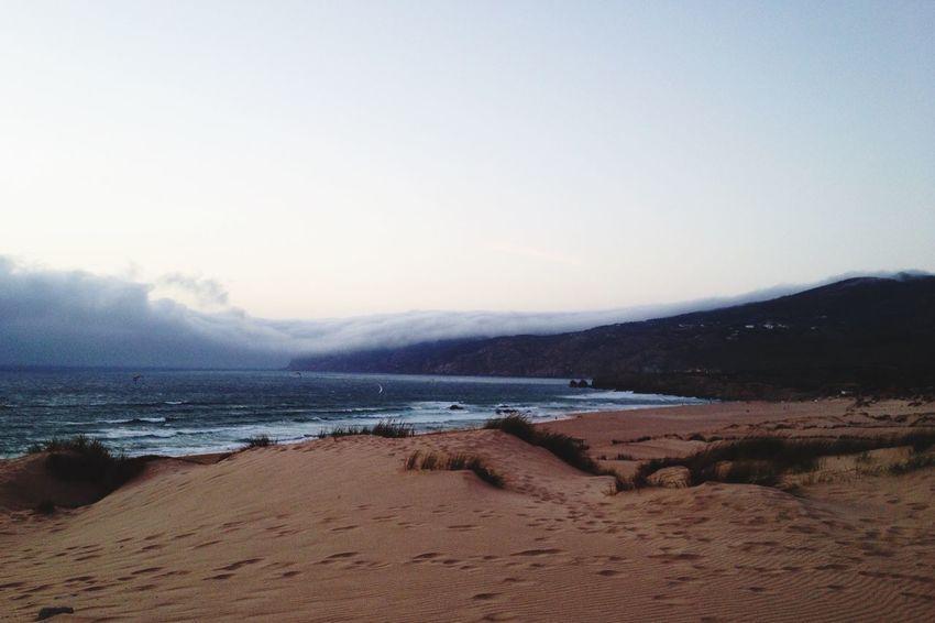 Praia Guincho Portugal Nature Coast Misterious Landscape Cloudscape Beach Night Sky