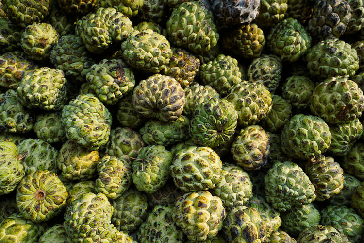 Full Frame Shot Of Custard Apples For Sale At Market