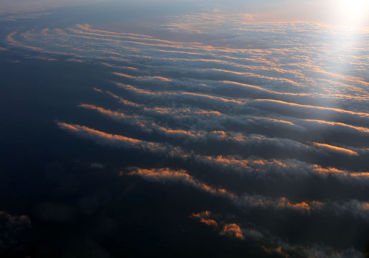 Scenic view of clouds in sky at sunset