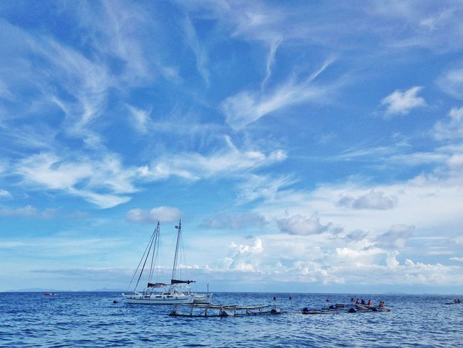 Blue views. Blue Sky And Clouds Sea Water Cloud - Sky Blue Nautical Vessel Sky Horizon Over Water Day Outdoors Nature Beach Tranquility No People Scenics Travel Destinations Beauty In Nature