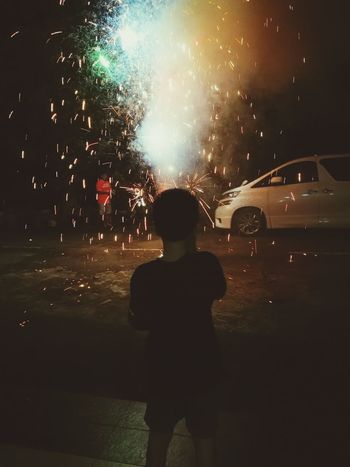 One Person Rear View Real People Night Natural Beauty Portrait Rear View Life Events Chinese Style Chinesenewyear Fire And Flames Firework🎆 Taking Photos Fun Playing Happiness