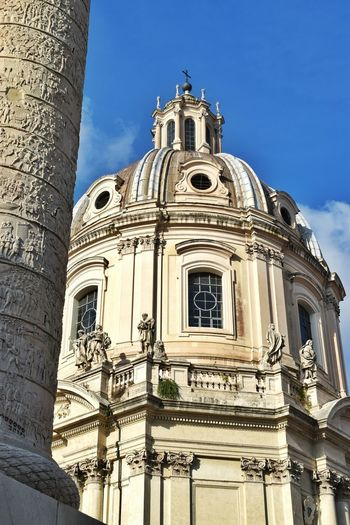 Trajan's Column Imperial Forum Church City Place Of Worship Religion Spirituality History Baroque Style Sky Architecture Building Exterior Built Structure Dome Architectural Column Sculpted Historic Pediment Civilization