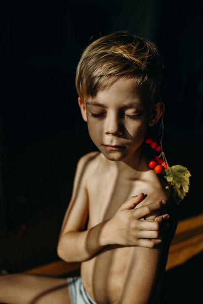 EyeEm Best Shots EyeEm Gallery The Week On EyeEm Black Background Blond Hair Boys Childhood Close-up Cute Day Elementary Age Flower Front View Indoors  Lifestyles One Person People Portrait Real People Shirtless