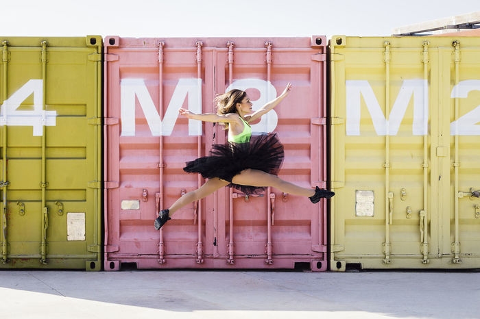 Ballerina Colors Dance Dancing Industrial Jump Performer  Pink Acrobatics  Aerobics Art Ballet Containers Contemporary Dance Shoes Dancer Expression Jumping Mustard Color Skip Street Street Dance Tutu Urban Yellow