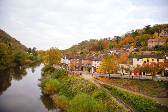 View of Ironbridge village from The Iron Bridge. Architecture Autumn Autumn Colors Building Exterior Built Structure Cloud Cloud - Sky Day Footpath HDR Hdr_Collection Ironbridge  Ironbridge Gorge Outdoors River River Severn Riverbank Shropshire Sky Tree UNESCO World Heritage Site Village Water Waterfront West Midlands