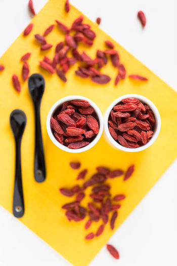 Close-up Day Food Food And Drink Freshness Goji Healthy Eating High Angle View Indoors  No People Ready-to-eat Snack Variation Visual Feast White Background