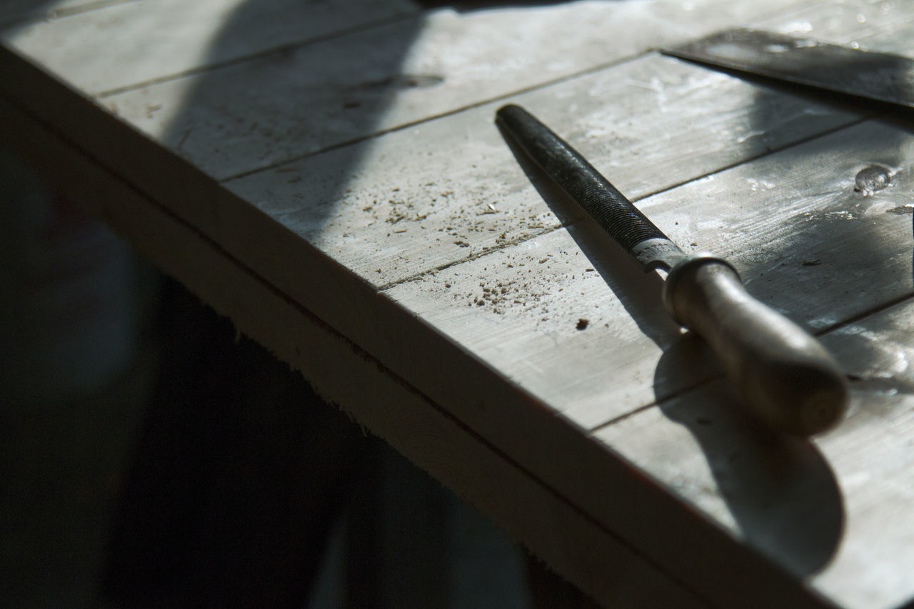 Close up of wood carving tool